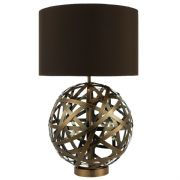 Voyage Ball Table Lamp in Strips of Antique Copper complete with a Co-Ordinating Shade - där VOY4264